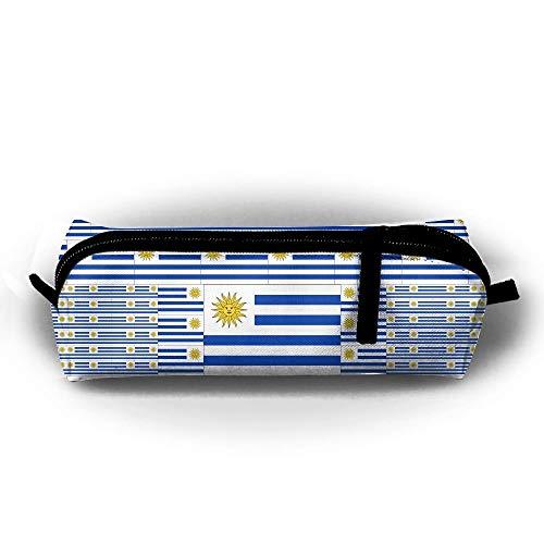 (Uruguay Flag Pencil Case Holder Zipper Pencil Bag Coin Purse Pouch 8.2 X 2.2 X2