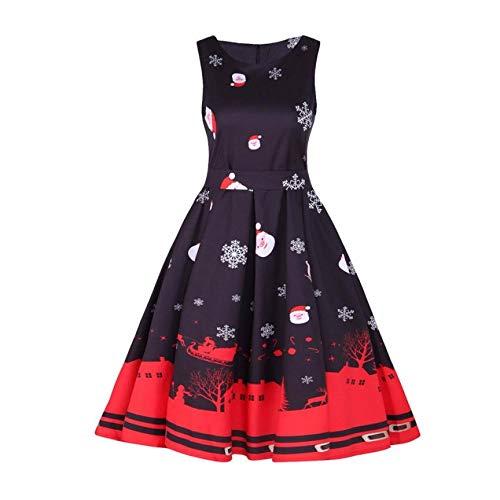 Hilotu Womens Vintage Santa Christmas 1950s Retro Xmas Evening Prom Swing Dress (Color : Black, Size : 2XL)