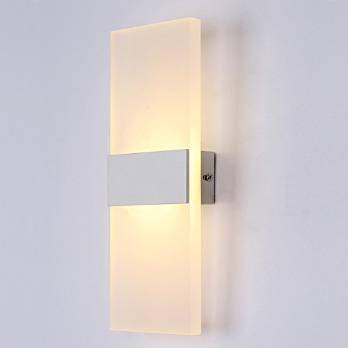 BRILLRAYDO 6W Dimmable Warm White LED Indoor Acrylic Wall Mounted Light Lamp White+White Shell