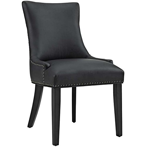 Modway Marquis Modern Elegant Upholstered Vinyl Parsons Dining Side Chair With Nailhead Trim And Wood Legs In Black - Black Upholstered Side Chair