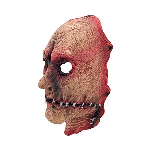 Bloody Half-face Man Mask, Mouth Rupture Stitching Scary