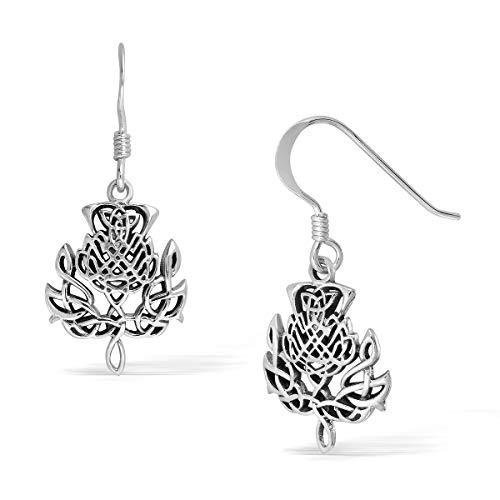 Thistle Jewellery Scottish (WithLoveSilver 925 Sterling Silver Celtic Scottish Thistle Dangle Hook Earrings)
