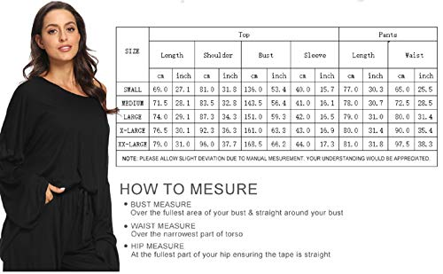 Womens Pajama Sets, Pajamas for Women Long Sleeve Sleepwear Soft Pj 3 Piece Loungewear Nightwear Sport Outfits Sets (Size-S) Black