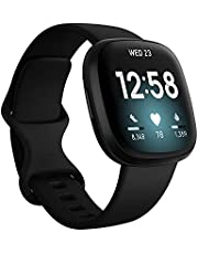 Fitbit FB511BKBK-FRCJK Versa 3 Health & Fitness Smartwatch with GPS, 24/7 Heart Rate, Alexa Built-in, 6+ Days Battery, Black, One Size (S & L Bands Included) - Singapore Edition