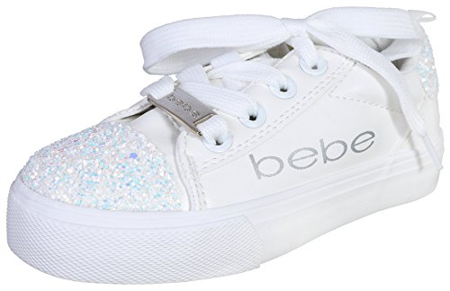 bebe Girls Low Top Glitter Lace Up Sneaker, White, 2-3 M US Little Kid' - Kid White Shoe Sneaker