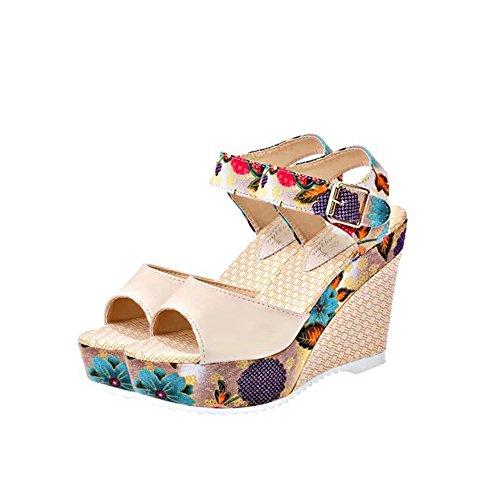 Womens Sandals for Women Huizhuangshigong Women Printed Slope Sandals Summer Wedges Platform Toe High-Heeled Shoes (38, Beige) ()