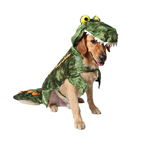 ROZKITCH Halloween Dog Costume Green Crocodile Dog Costume Alligator Design Small Large Dog Clothes Dog Hoodie Coats Pets Jumpsuits Party Dress ()