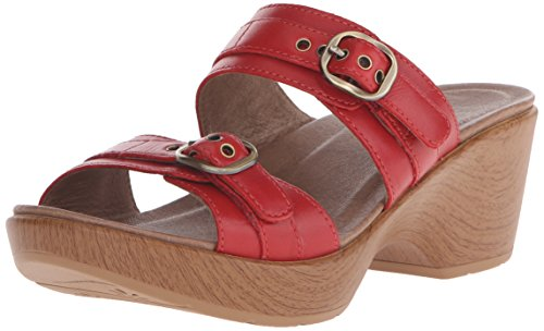 Dansko-Womens-Jessie-Red-Full-Grain-Wedge-Sandal