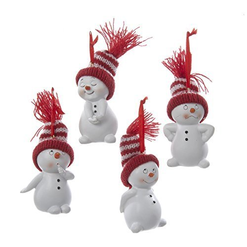 Kurt Adler Snowman With Red And White Stripe Knit Hat Ornament Set OF 4 ()