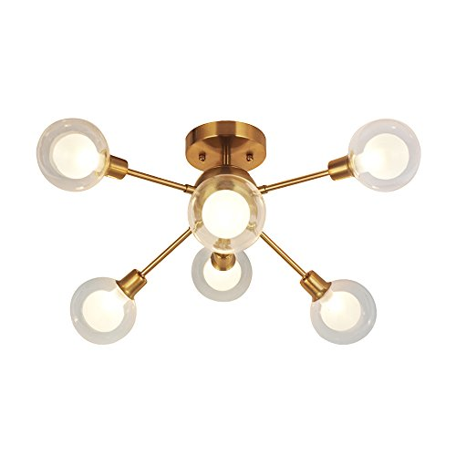 Ball Semi Flush - Modern Sputnik Chandelier Lighting G9 40W (Bulbs Included) 6 Lights Brushed Brass Semi Flush Mount Ceiling Light Mid Century Glass Pendant Light By BONLICHT