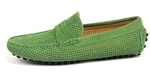 Happyshop (tm) Heren Mêlee Lederen Mocassin Loafers Rijschoenen Comfort Instappers Stuiver Loafer Flats Pauwgroen