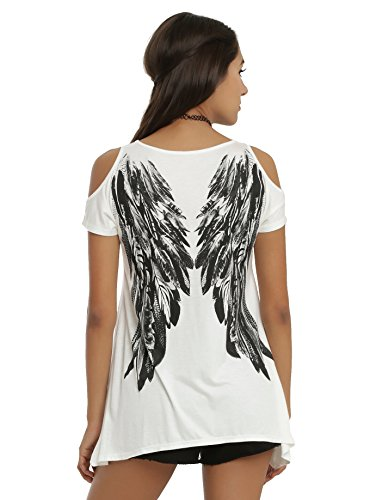 Buankoxy Women's Casual Short Sleeve Cold Shoulder Loose Fit T-Shirt (2XL, Angel Wing-White)