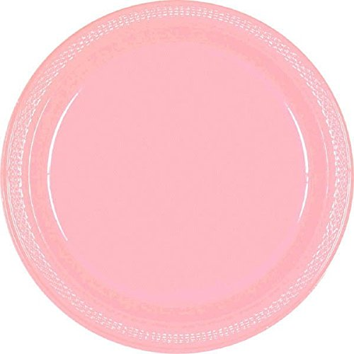 Party Ready Disposable Round Dessert Plates Tableware, New Pink, Plastic , 7