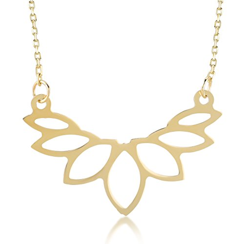 Gelin 14k Yellow Gold Yoga Lotus Flower Om Symbol Pendant Chain Necklace for Women - with Gold Certificate and Lovely Jewelry Box, 18 inch