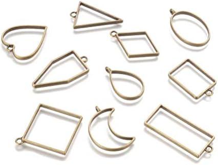 Xinhengchen DIYジュエリーアクセサリー 1パックブロンズ(10個入) DIYと押し花作り 幾何学的な金属フレーム ベゼルチャーム付きオープンベゼルペンダント中空フレーム ジュエリーペンダント Bronze