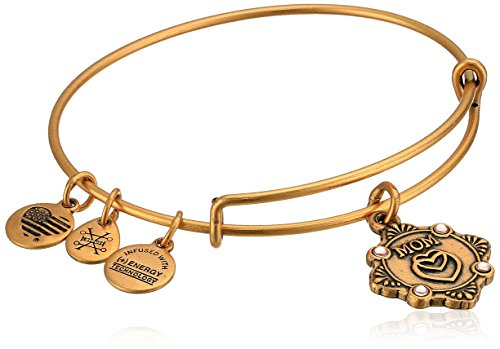Alex and Ani Womens Because I Love You, Mom Charm Bangle Bracelet, Rafaelian Gold, Expandable ()