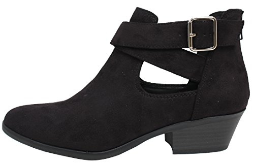 Toe Criss Cross Buckle Cutout Low Stack Heel Ankle Boot (8.5 B(M) US, Black) (Cross Ankle Boot)