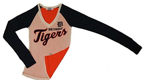 (G-III Sports Detroit Tigers MLB Womens Tri-Color Extra Long Sleeve V-Neck Shirt (Small) )