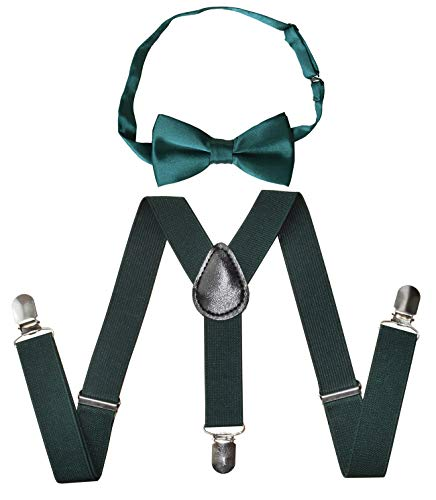 Raylarnia Children Kids Suspenders Bowtie Set,Extra Sturdy Polished Silver Metal Clips,Adjustable Suspender with Bow Tie Set for Boys and Girls(one size, Dark green)
