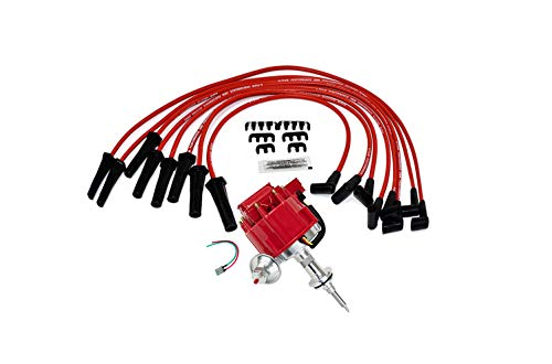 A-Team Performance Complete HEI Distributor Spark Plug Wires and Pig Tail Kit - Compatible with Mopar Chrysler Dodge Plymouth V8 Engines 273 318 340 340 360 - 65K COIL Red Cap One Wire Installation