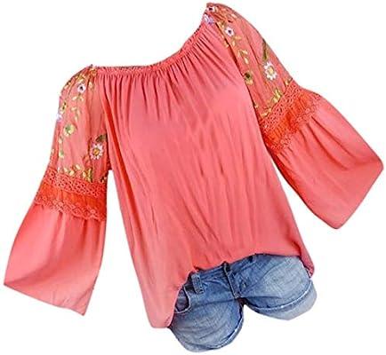 Camisas Mujer Tallas Grandes,Modaworld Moda Blusa de Mujer Floral Bordado Encaje Flare Manga Camiseta Tops Blusas Elegante Señoras Tops Camiseta Sexy niña ...