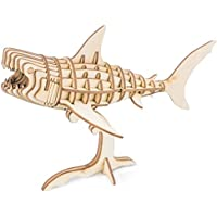 Rolife Build Your Own 3D Wooden Assembly Puzzle Wood Craft Kit Shark Model, Gifts for Kids and Adults