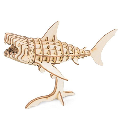 Rolife Build Your Own 3D Wooden Assembly Puzzle Wood Craft Kit Shark Model, Gifts for Kids and -