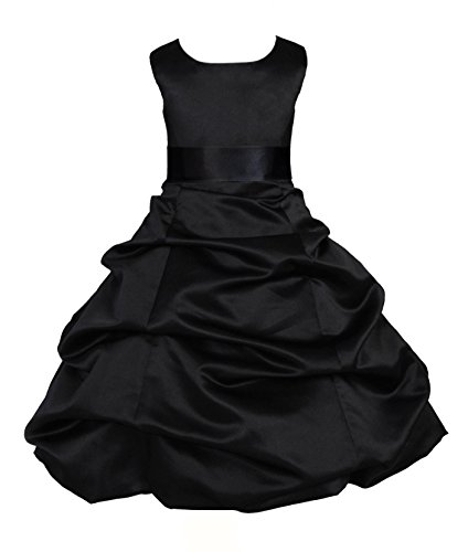 - ekidsbridal Black Satin Pick-Up Bubble Flower Girl Dresses Pageant Dress 806S 4