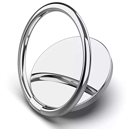 Phone Ring Holder Finger Kickstand 360°Rotation Metal Ring Grip for Magnetic Car Mount Compatible with All Smartphone - Silver(1 Pack)