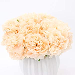 Yunuo 2 Pack Artificial Peony Silk Flower Wedding Bridal Bouquet 5pcs/Pack Home Party Garden Decor 52