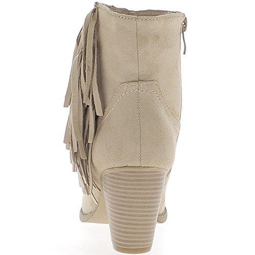 Nudo beige stivali con frange spessa pelle scamosciata sguardo tacco 7cm foderato