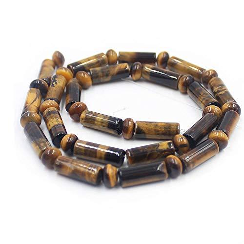 Rondelle Tiger - SR BGSJ Jewelry Making Natural 5x14mm Column&4x6mm Rondelle Yellow Tiger Eye Gemstone Beads Jewelry Making Strand 15