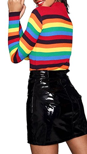 Maglione Janisramone Stripe Long Donna Sleeve Rainbow dwYYRvxq