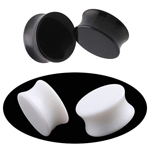 (HQLA 2 Pairs White/Black Solid Acrylic Ear Plugs Flesh Tunnels Double Flared Expander Stretcher Piercing Jewelry (6G (4mm)))