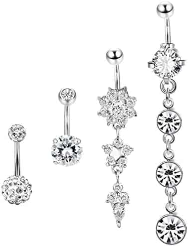 Jstyle 4 Pcs Dangle Belly Button Rings Navel for Women Curved Barbell Piercing 14G CZ Piercing Set
