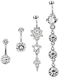 4 Pcs Stainless Steel Dangle Belly Button Rings Navel for Women Curved Barbell Piercing 14G CZ Piercing Set