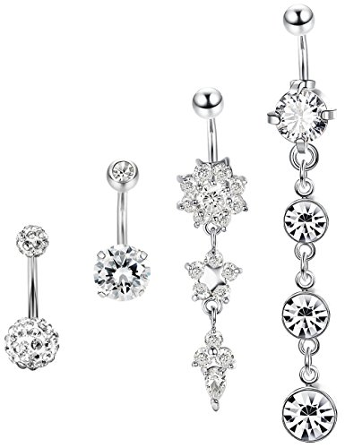 (Jstyle 4 Pcs Dangle Belly Button Rings Navel for Women Curved Barbell Piercing 14G CZ Piercing)