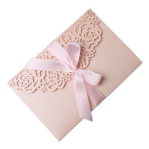 "PONATIA 20 PCS 3 Folds 5×7"" Wedding Invitations Cards with Pink Ribbons for Wedding Bridal Shower Engagement Birthday Graduation Invite (Blush Pink)"