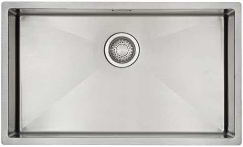 Kitchen Sink Mizzo Design - One/Single Bowl Square Stainless Steel Kitchen Sink- for Both undermount and flushmount Installation - Satin Finish Stainless Steel Kitchen Sink - 70 cm