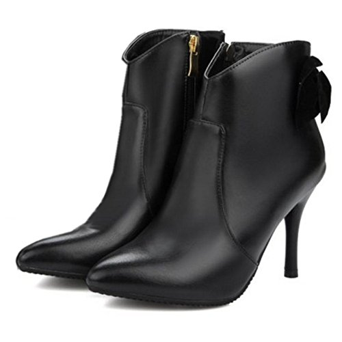 COOLCEPT Damen Mode Stiletto Zipper Kleid Stiefeletten Mit Bogen SM Black
