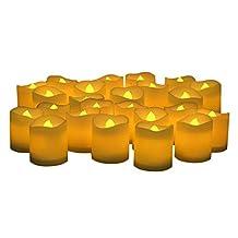 KOBWA LED Flameless Candles,Flickering Votive Candles,Flickering Battery Operated Candles,Set of 24