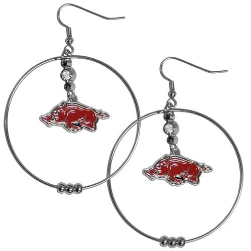 NCAA Arkansas Razorbacks Hoop Earrings, 2-Inch
