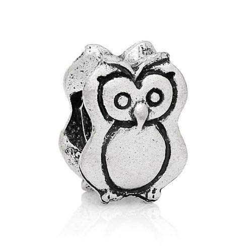Owl Animal Bird Halloween Spacer Bead for Silver European Style Charm Bracelets Crafting Key Chain Bracelet Necklace Jewelry Accessories -
