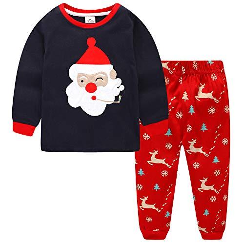 Christmas Girls Boy Santa Claus 100% Cotton 2 Piece long sleeve pajamas Set 3y