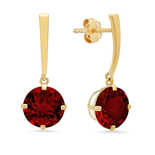 14k Yellow Gold Solitaire Round-Cut Garnet Drop Earrings (8mm)