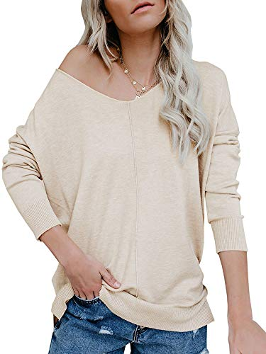 (Ybenlow Womens Off Shoulder V Neck Sweater Batwing Sleeve Oversized Pullover Knit Jumper Slouchy Tunic Tops Beige)