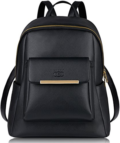 COOFIT Fashion Backpack for Women PU Leather Backpack Purse for Women Casual Daypack (Black)