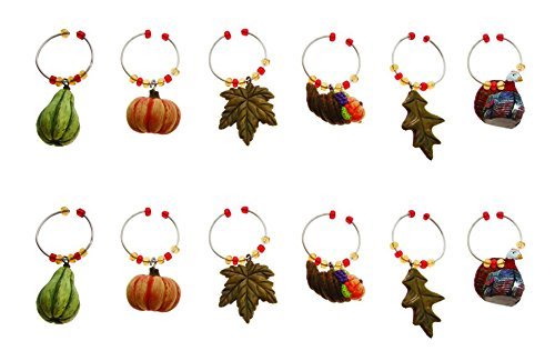 Fall Themed Wine Set - Boston International Wine Charms Set of 12, Harvest Thanksgiving
