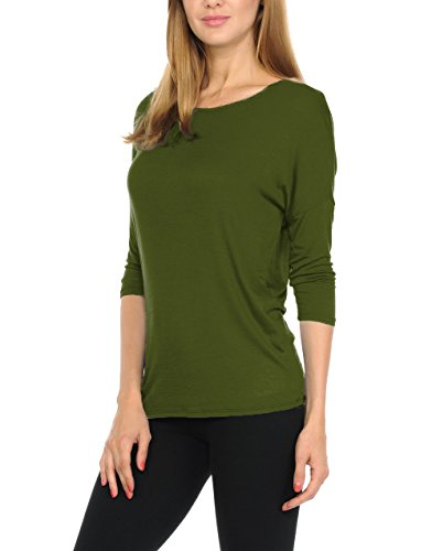 Green 3/4 Sleeve Top - bluensquare Women T-Shirts Soft Rayon Jersey Top - 3/4 Dolman Sleeves, 5 Sizes(S-XXL) (Large, Olive)
