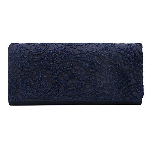 Zadaro clutch Dark evening Blue clutch Women for Ladies Lace purse Bridal wedding Bag E6r1ERPwqx